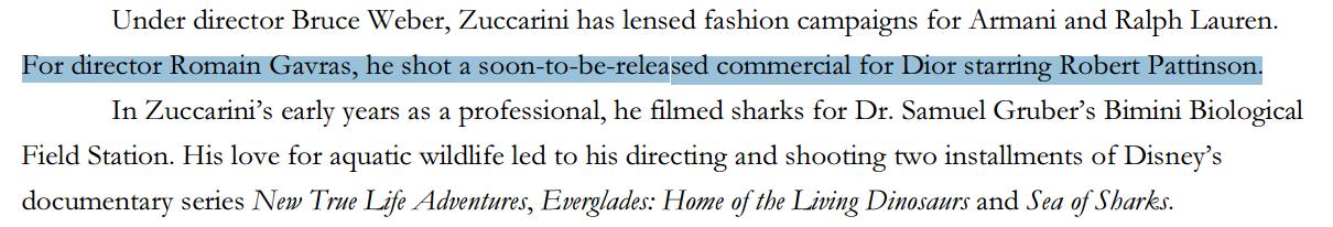 Rumor: Novas informações sobre o comercial da Dior