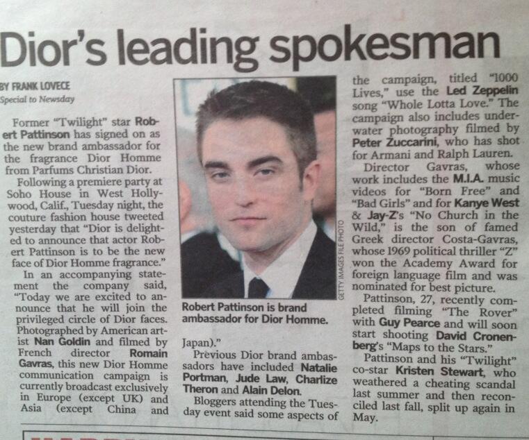 Campanha da Dior com Robert é destaque em Jornal